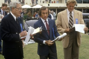 Racing legend Jackie Stewart, center, has been a judge at Pebble Beach. Flanking him here are the late Otis Chandler, left, and Briggs Cunningham.